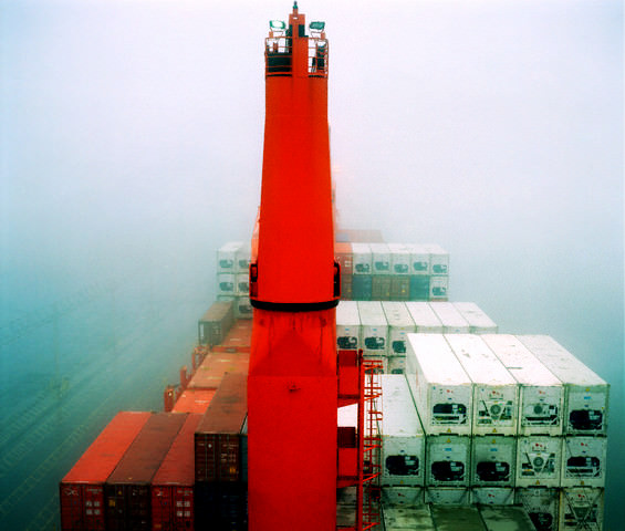Container ship in the fog